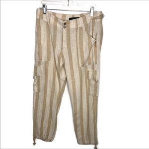 Anthropologie linen striped pants 28